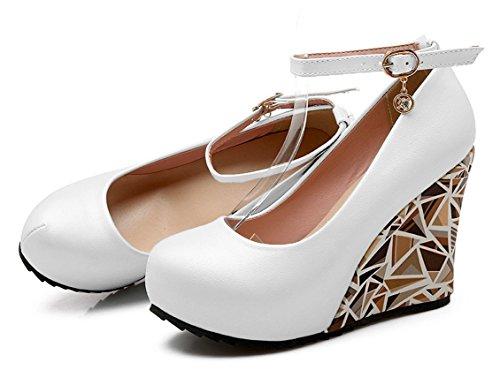 YE Damen Runde Zehe Geschlossen Wedges Keilabsatz Riemchen High Heels Plateau Leder Pumps Schuhe mit Schnalle Weiß