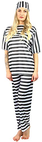 Nick and Ben Häftling Sträfling Kostüm für Männer und Frauen | 3-teilige Verkleidung für Karneval | Oberteil Hose Mütze | schwarz, weiß | Einheitsgröße