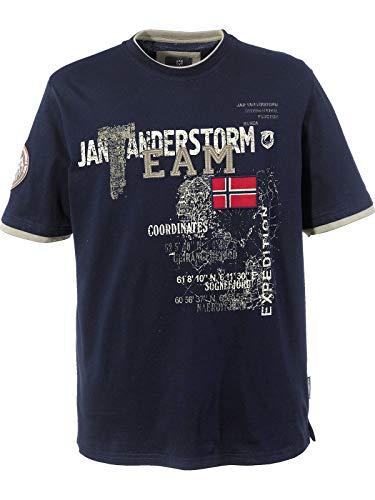 Jan Vanderstorm Herren Kurzarm T-Shirt Sölve dunkelblau XL - 56/58