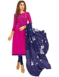 Women'S Pink Semi Stitched Embroidered Jacquard Dress Material