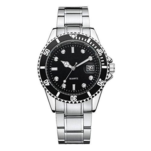 DAY.LIN Uhr Herren Uhren Herrenuhr Men Fashion Military Edelstahl Datum Sport Quarz Analog Armbanduhr (Schwarz)
