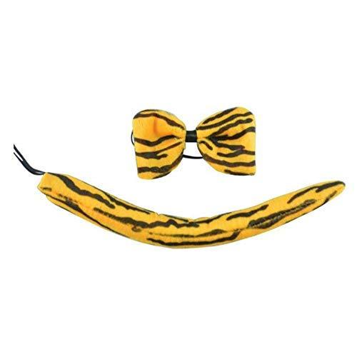 Lvcky Kinder Stirnband mit Tierohren und Fliege, Cartoon-Kostüm, Party, Süßes Tiger, Fliege, Schwanz, Cosplay, Halloween, Party, 3 Sets
