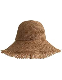 Fzwang Protector Solar de Sombrero Paja de la señora con Gran Ola en la  Playa de 744c4348ae4