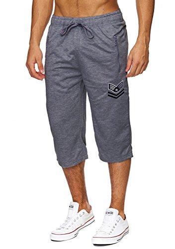 Max Men Herren Sweat Shorts Capri Hose Freizeit Sport Jogging Pants Training H1828, Farben:Dunkelgrau, Größe Shorts:M Training Capri-hosen