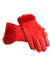 8912 LADIES FUAX FUR TRIMMED GLOVES IN RED