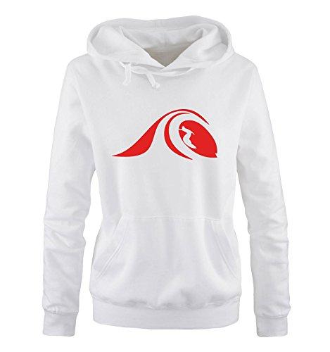Comedy Shirts - Surfer Welle - Damen Hoodie - Weiss / Rot Gr. M