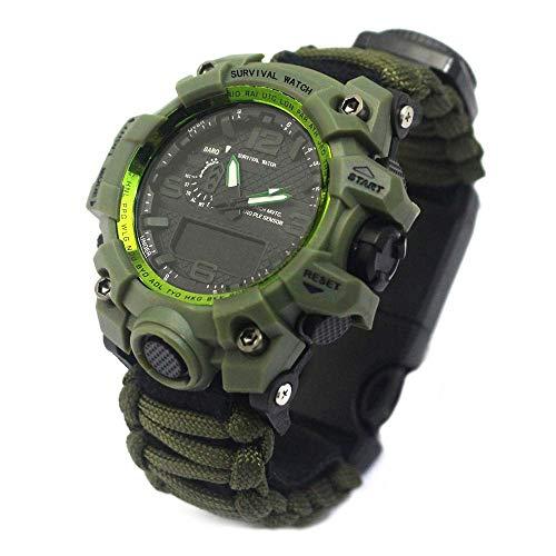 Outdoor Survival Watch, Sport Multifunktions wasserdicht leuchtende Uhr, Reise Camping Rescue Bracelet