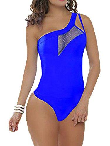 FARINA® 008 Body donna tuta elasticizzato - senza maniche - elegante sexy Blu