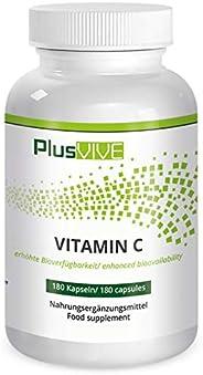 PlusVive, vitamina C naturale con bioflavonoidi e matrice disponibile, 180 capsule