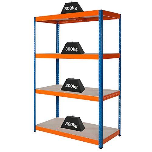 Certeo Werkstattregal | HxBxT - 180 x 120 x 60 cm | Tragkraft bis zu 300 kg pro Fachboden | Tiefe 60 cm | Belastbar mit insgesamt 1200...