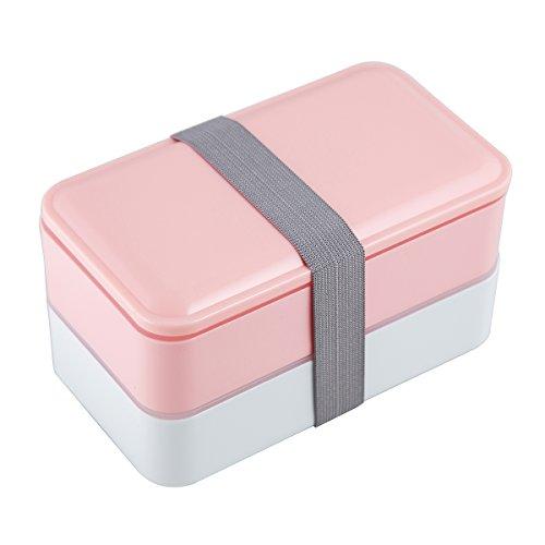 Lunchbox/Bento Box, MACDIAZ Microwavable Bento Lunchboxen 2 Layer Food Aufbewahrungsbehälter Mit Besteck FÜR Kinder Erwachsene, Mittagessen - Rosa Erwachsenen-lunch-box