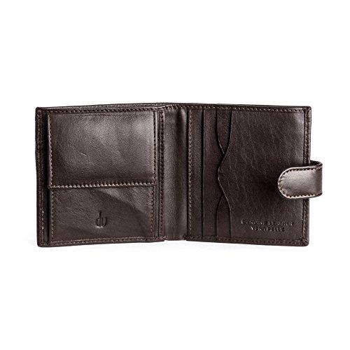 DV Portafoglio uomo in morbida Pelle Nappa con chiusura a Bottone Portamonete Porta banconote Porta Carte Marrone scuro