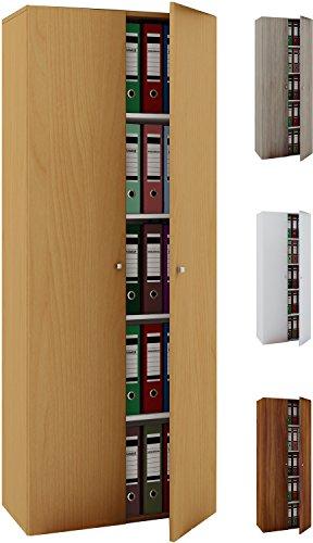 VCM Büroschrank Aktenschrank Bücherregal Standregal Aktenregal Schrank Regal Vandol Mit Türen: Kern-Nussbaum -