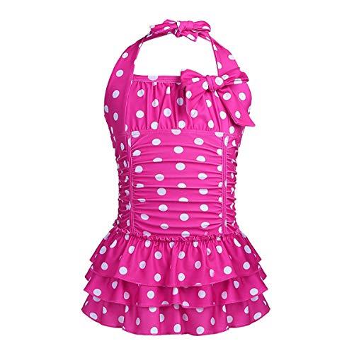 Traje de baño de una Pieza con Volantes y Lunares, para niñas y bebés de 3 a 14 años Rosa Rosa b...
