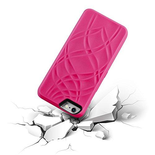 Cadorabo - Hard Cover Protección para Apple iPhone 6 / 6S / 6G - Case Cover Funda Protectora Carcasa Dura Hard Case con Motivos, Espejo y 3 Compartimientos para Carteras en TURQUESA ROSA