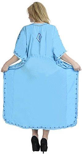 La Leela femmes collier de cadeau gratuit Plage et douceur rayonne caftan à long caftan brodé nuit robe robe de soirée de maillots de bain occasionnel couvrir profond bleu ciel