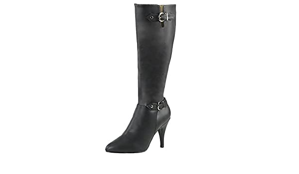 HooH Damen Halbschaft Stiefel Winter Matt High Heel Reißverschluss Knie hoch Stiefel Schwarz 39 EU kONDBI1mdj