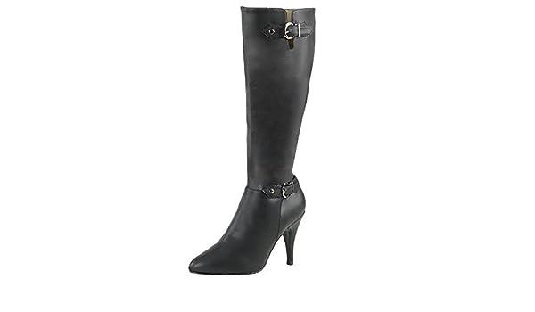 HooH Damen Halbschaft Stiefel Winter Matt High Heel Reißverschluss Knie hoch Stiefel Schwarz 39 EU