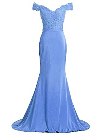 Debbie's Bridal Off the Shoulder Sweetheart Mermaid Long Bridesmaid Dress Sky Blue US 8