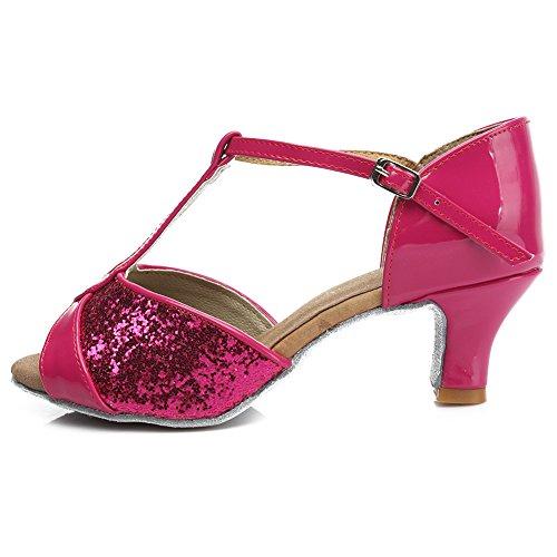 Raso IT259 HIPPOSEUS Rosso ballo Ballroom Modello ballo da 5CM da Donna standard Scarpe latino Scarpe qq7rHgY