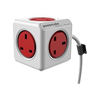 Allocacoc PowerCube Extended Power Socket UK -1.5 Metre (Non-USB) - Red/White