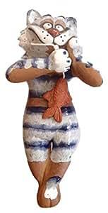 Keramik Gartenstecker Gartenkugel Blumenstecker Beetstecker Katze mit Fisch 31 cm frostfest