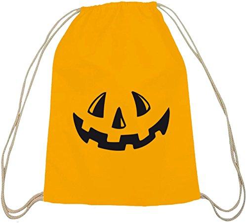 Halloween Grusel Kostüm natur Turnbeutel mit Halloween - Kürbis Gesicht Motiv, Größe: onesize,gelb - Gesicht Designs Halloween-kürbisse Für