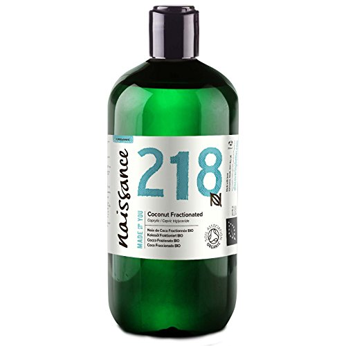 Naissance olio di cocco frazionato certificato biologico 500ml – puro al 100%, vegano, senza ogm, idratante per la pelle e i capelli