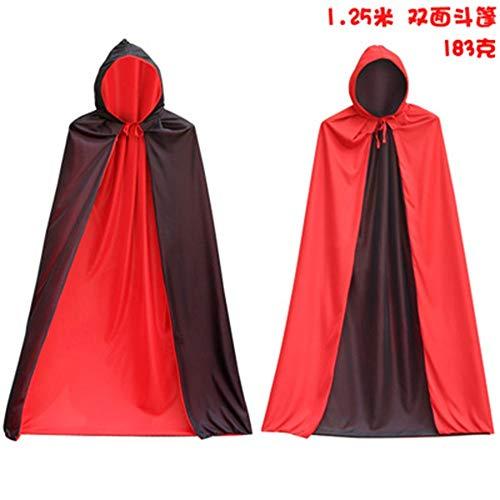 FENG Halloween - Umhang kostüm Tod Umhang Vampir Pirat Umhang, Rote und Schwarze Two - Tone - Umhang Doppel Stehen Kragen (Schwarze Piraten Königin Kostüm)