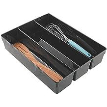 mDesign Cubertero antideslizante para cajón con tres divisiones – Organizador de cubiertos para ordenar utensilios – Bandeja para cubiertos y artículos de cocina para organizar cajones – Color: negro