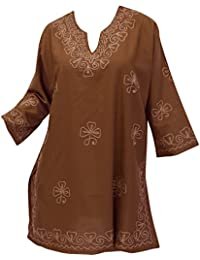 La Leela Brown Chain Stiched Embroidered Kurta Beach Swim Cover Up Gift Spring Summer 2017
