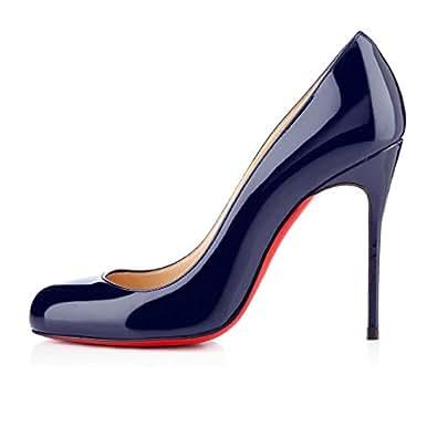uBeauty Runde Zehen High Heels 12 cm Pumps Sexy Rote Sohle Stiletto Slip On Pumps Große Größe Pumps Blau 35 EU