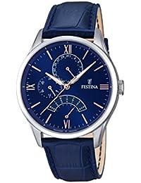 Festina Reloj de hombre de cuarzo con Esfera Analógica Azul Pantalla y Correa de piel color azul F16823/3