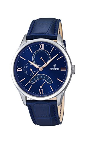 Festina Men's Quartz Watch with Blue Dial Analogue Display and Blue Leather Strap F16823/3