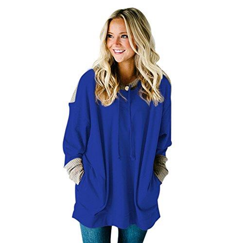 HUA&X Femmes Long Sleeve Sweatshirts Sweatshirts Pull imprimé lâche Loisirs Tops blue