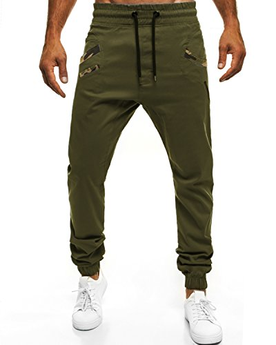 MODCHOK Herren Jogginghose Chino Cargo Jogging Hose Freizeithose Sweatpants Fit Armeegrün XL