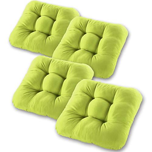 Gräfenstayn® 4er-Set Sitzkissen Stuhlkissen 40x40x8cm für Indoor und Outdoor - Bezug aus 100{2fbe7d50610a7aa6b92d2c0e42f5e2adbf2bea1342890a6082ec818aeae84882} Baumwolle - Verschiedene Farben - Dicke Polsterung Steppkissen/Bodenkissen (Apfelgrün)