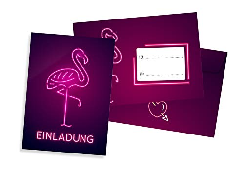 Friendly Fox Flamingo Einladung - 12 Einladungskarten Flamingo zum Geburtstag Kinder Jungen Mädchen Teenager - Einladung Kindergeburtstag - Partyeinladung pink - Coole Geburtstagskarte Flamingo -