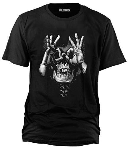 Wolkenbruch T-Shirt Skull Hands Totenkopf Gr.M-XXXXXL, XL, Schwarz -