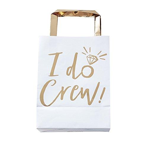Papier-Taschen/ Party-Taschen / Tüten I Do Crew in Weiß & Gold - JGA / Junggesellinnen-Abschied / Hen-Party / Hochzeit / Heirat Zubehör & Deko (10 Stück) -
