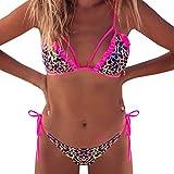 Setsail Damen 2019 Frühjahr und Sommer Mode Sexy Leopard Print Pulver Badeanzug, Surf Spa Bikini (Pink, L)