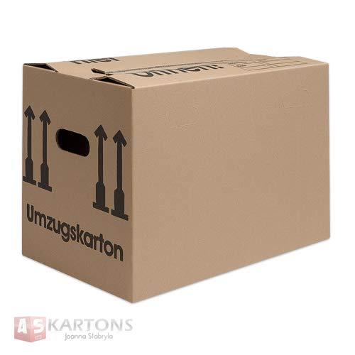 Umzugskartons Faltkartons mit doppeltem Boden und Griffen 1-wellig Größe: L 600 x B 320 x H 370 Stückzahl wählbar (50)