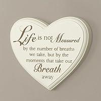 Cream Heart Life-Targa da parete a forma di cuore, 11 x W14cm Art déco