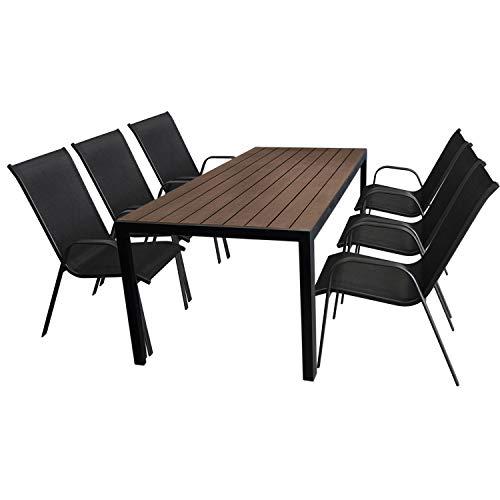 Multistore 2002 7tlg. Gartengarnitur Aluminium Gartentisch, Tischplatte Polywood, Braun, 205x90cm + 6X Stapelstuhl, Textilenbespannung in Schwarz - Gartenmöbel Set Sitzgarnitur Sitzgruppe
