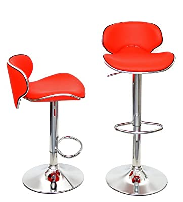 1 x bar stool barstool bar chair kitchen chair in bright red with chrome and footrest