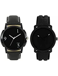 Om Designer Analogue Black Dial Watch Leather Strap Attractive Stylish Combo Watches -For Men's & Boy's(Pack Of 2)