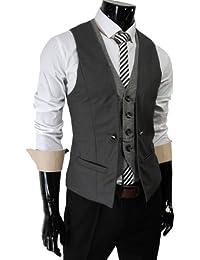 TheLees Herren Stilvoll geschichteten Stil schlanke Weste Taille Mantel Dunkelgrau M(EU 48)