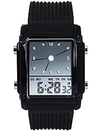 Hiwatch Montre de Sport LED Digital pour Hommes Montre Bracelet Etanche Numérique Coloré Noir