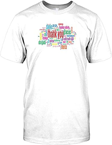 Thank You Word Cloud - Cool Design Kids T Shirt - white - 12-14 Years
