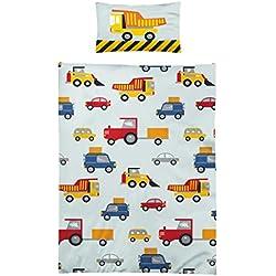 Optima 2-teiliges Kinder Bettwäsche Set Mikrofaser Bettbezug Größe 100x135 Kissenbezug 40x60 Farbe Gelb Blau Bunt Baustelle Bagger